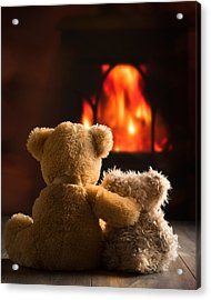 Teddies By The Fire Acrylic Print by Amanda Elwell
