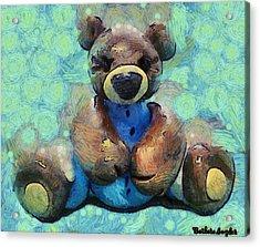 Teddy Bear In Blue Acrylic Print by Barbara Snyder