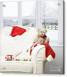 Teddy Bear On Sofa Acrylic Print by Amanda Elwell