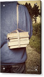 Teen Boy's Back With Books Acrylic Print by Edward Fielding