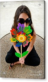 Teenage Girl Hiding Behind Toy Flower Acrylic Print by Amy Cicconi