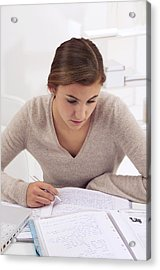 Teenage Girl Studying Acrylic Print by Science Photo Library