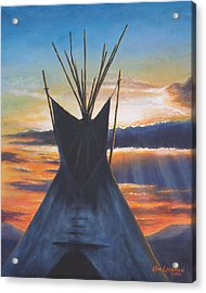 Acrylic Print featuring the painting Teepee At Sunset Part 1 by Kim Lockman