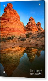 Teepee Reflection Acrylic Print by Inge Johnsson