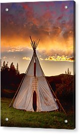 Teepee Sunset Portrait Acrylic Print by James BO  Insogna