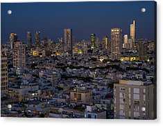Acrylic Print featuring the photograph Tel Aviv At The Twilight Magic Hour by Ron Shoshani
