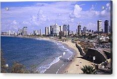 Tel Aviv Beach Acrylic Print by Uri Baruch