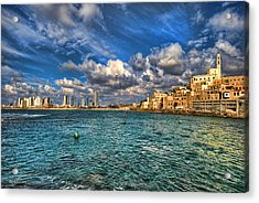 Acrylic Print featuring the photograph Tel Aviv Jaffa Shoreline by Ron Shoshani