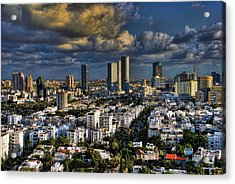 Tel Aviv Skyline Fascination Acrylic Print by Ron Shoshani