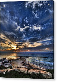 Acrylic Print featuring the photograph Tel Aviv Sunset At Hilton Beach by Ron Shoshani