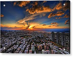 Acrylic Print featuring the photograph Tel Aviv Sunset Time by Ron Shoshani