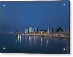 Acrylic Print featuring the photograph Tel Aviv The Blue Hour by Ron Shoshani