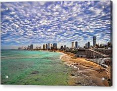 Acrylic Print featuring the photograph Tel Aviv Turquoise Sea At Springtime by Ron Shoshani