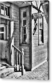 Telegraph And Cable Office Bw Acrylic Print by Mel Steinhauer