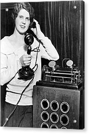 Telephone Recording Device Acrylic Print by Underwood Archives