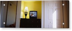 Television And Lamp In A Hotel Room Acrylic Print