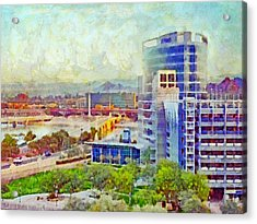 Tempe Arizona Skyline In The Early Morning Acrylic Print