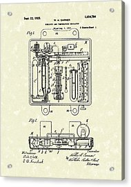 Temperature Regulator 1925 Patent Art Acrylic Print by Prior Art Design