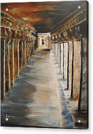 Acrylic Print featuring the painting Temple Aisle-mandapam by Brindha Naveen