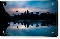 Temple At The Lakeside, Angkor Wat Acrylic Print by Panoramic Images