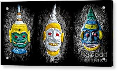 Temple Faces Acrylic Print by Adrian Evans
