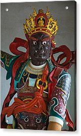 Temple Guardian Statue, Bamboo Temple Acrylic Print by Panoramic Images