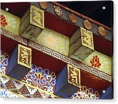 Acrylic Print featuring the painting Temple In Bhutan by Patrick Morgan