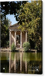 Temple Of Aesculapius And Lake In The Villa Borghese Gardens In  Acrylic Print