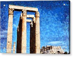 Temple Of Olympian Zeus And Acropolis Acrylic Print by George Atsametakis