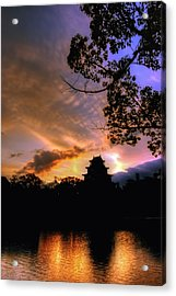 Acrylic Print featuring the photograph A Temple Sunset Japan by John Swartz
