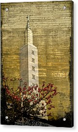 Acrylic Print featuring the photograph Temple With Red by Kevin Bergen