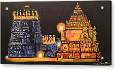 Acrylic Print featuring the painting Templelights by Brindha Naveen