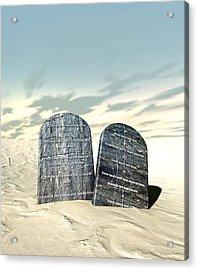 Ten Commandments Standing In The Desert Acrylic Print by Allan Swart