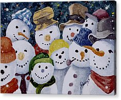 Ten Little Snowmen Acrylic Print by Sam Sidders