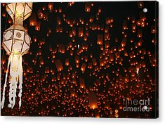 Acrylic Print featuring the photograph Ten Thousand Lantern Launch by Nola Lee Kelsey