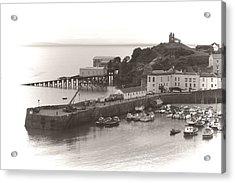 Tenby Harbour And Castle Hill Vignette Acrylic Print