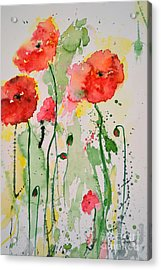 Tender Poppies - Flower Acrylic Print by Ismeta Gruenwald