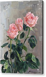 Tender Roses Acrylic Print by Victoria Kharchenko