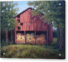 Tennessee Barn With Hay Bales Acrylic Print by Janet King