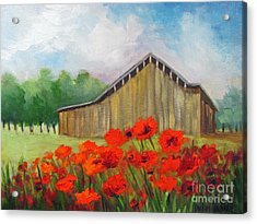 Tennessee Barn With Red Poppies Acrylic Print