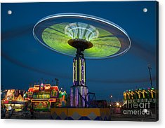 Tennessee State Fair Rides At Night I Acrylic Print by Clarence Holmes