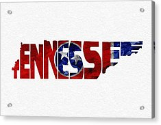 Tennessee Typographic Map Flag Acrylic Print