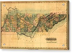 Tennessee Vintage Antique Map Acrylic Print by World Art Prints And Designs