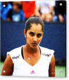 Tennis Player Sania Mirza Acrylic Print by Nishanth Gopinathan