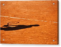 Tennis Player Shadow On A Clay Tennis Court Acrylic Print
