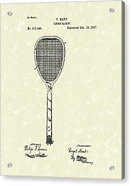 Tennis Racket 1887 Patent Art Acrylic Print by Prior Art Design
