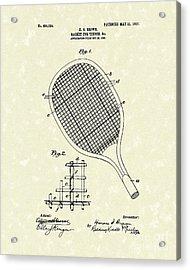 Tennis Racket 1907 Patent Art Acrylic Print by Prior Art Design
