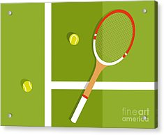Tennis Racquet And Balls Are On The Acrylic Print