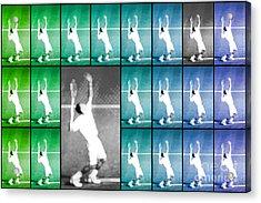 Tennis Serve Mosaic Abstract Acrylic Print by Natalie Kinnear