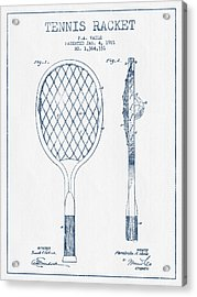 Tennnis Racketl Patent Drawing From 1921 -  Blue Ink Acrylic Print